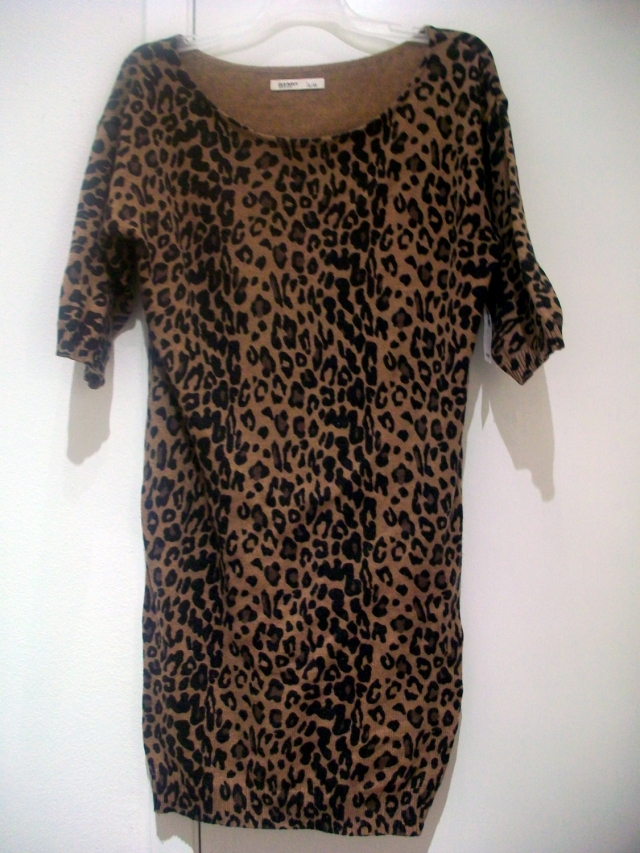Leopard Boat-Neck Sweater Dress