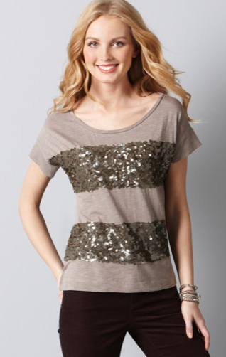 Ann Taylor LOFT Sequin stripes tee
