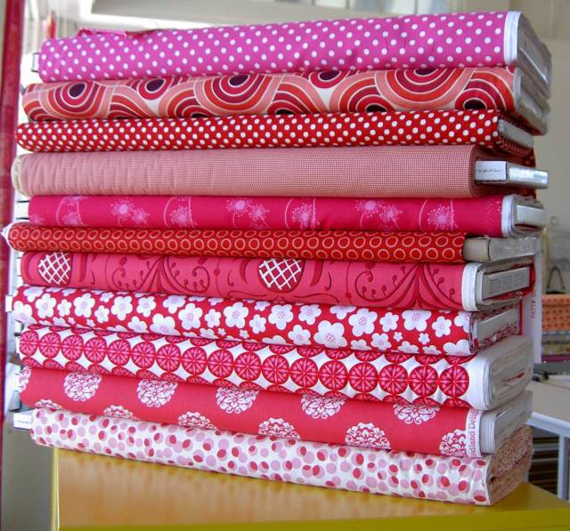 red and pink fabric