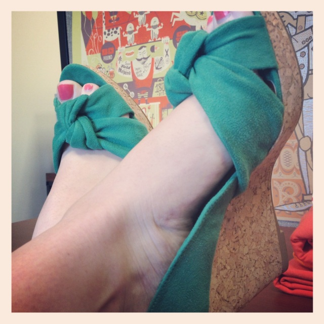 Broke in my new kelly green H&M wedges