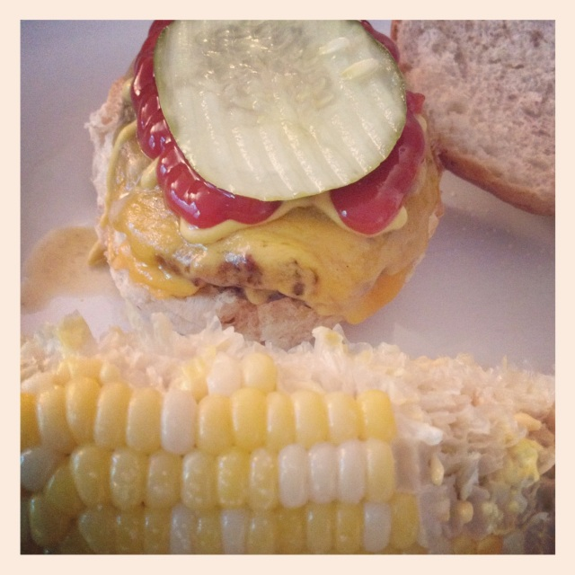 Dinner is served: Burger and Iowa sweet corn.