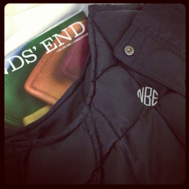 opened up my box of goodies from Lands' End, including my monogrammed puffy vest