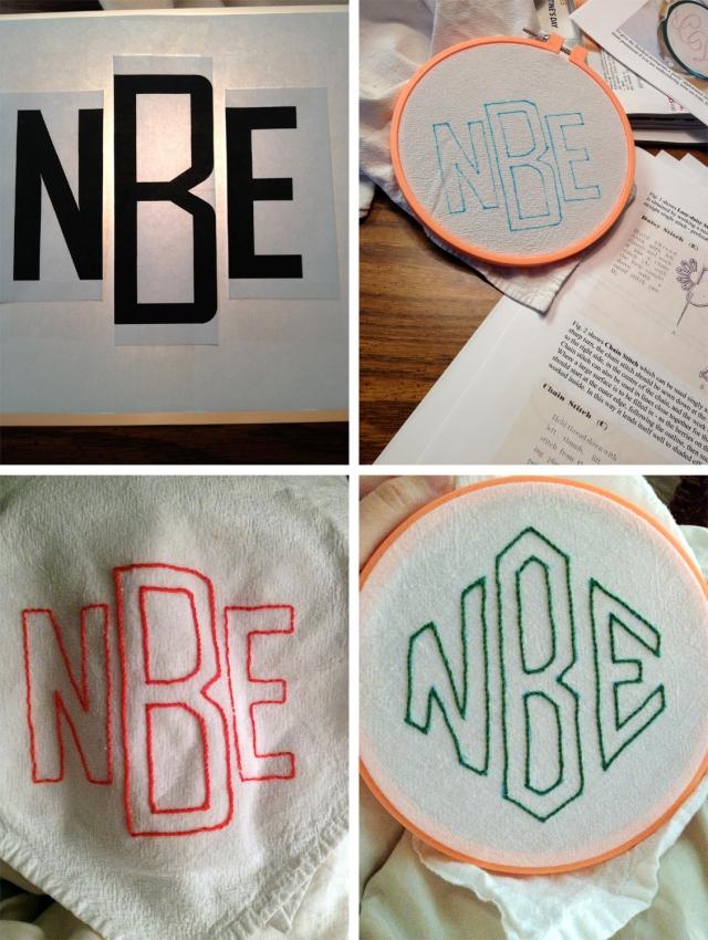 hand embroidered monogram tea towels