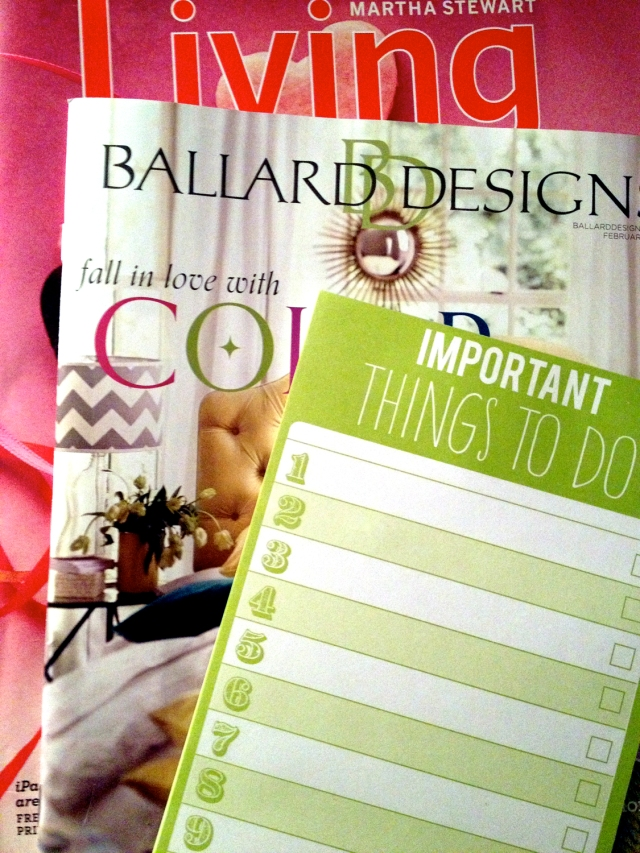 Magazines, catalogs, to-do lists