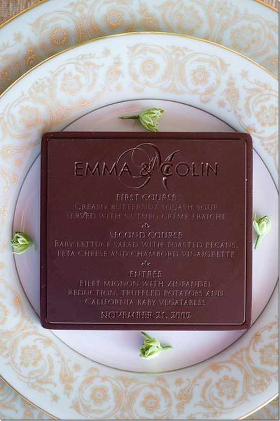 chocolate menu card