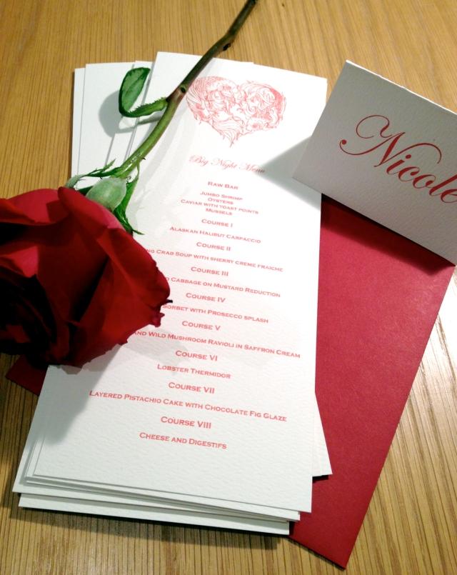 Big Night 3 menu and name cards