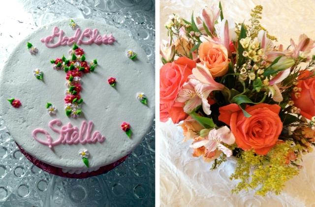 Stella's baptism cake + flowers