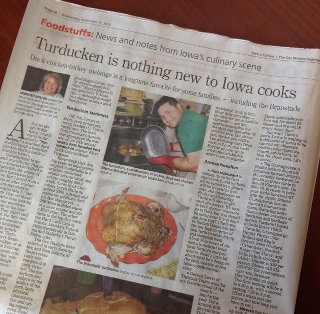 Turducken in The Des Moines Register