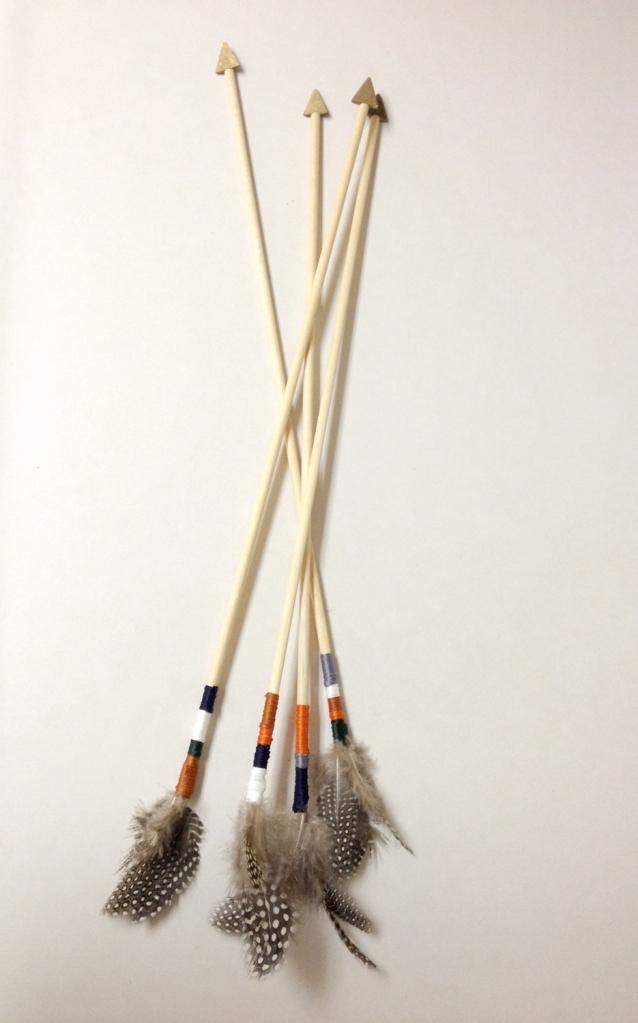 DIY wooden arrows: full view