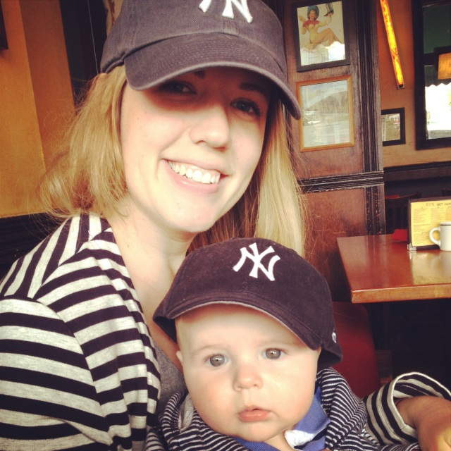 Yankees fans - mom and son