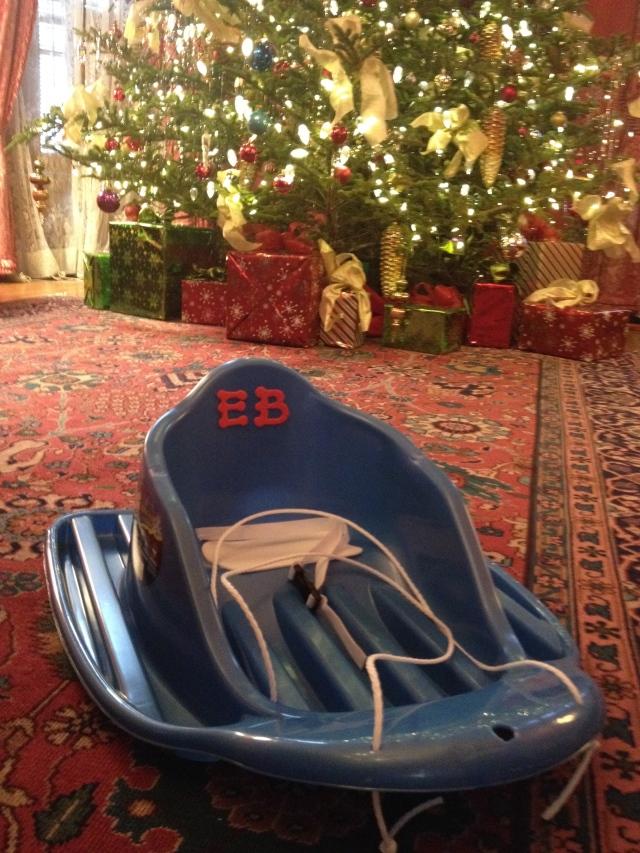 Everett First Birthday_sled