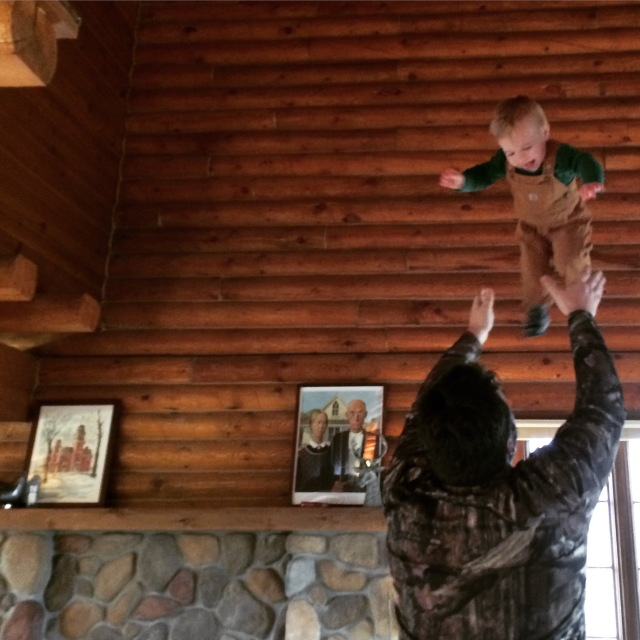 Flying in log home