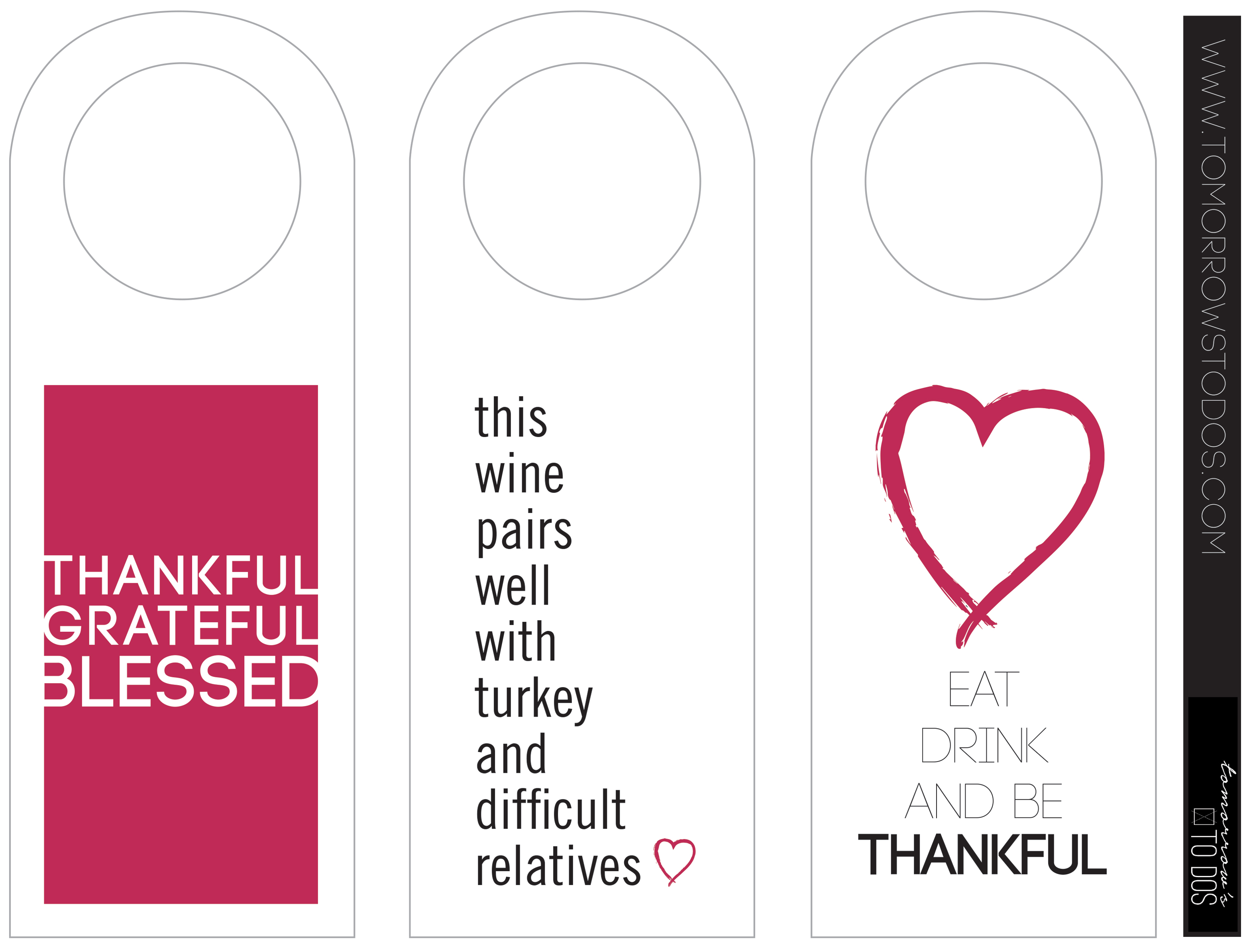 photograph regarding Printable Wine Bottle Tags titled Thanksgiving Printable Wine Bottle Tags Tomorrows In the direction of Dos